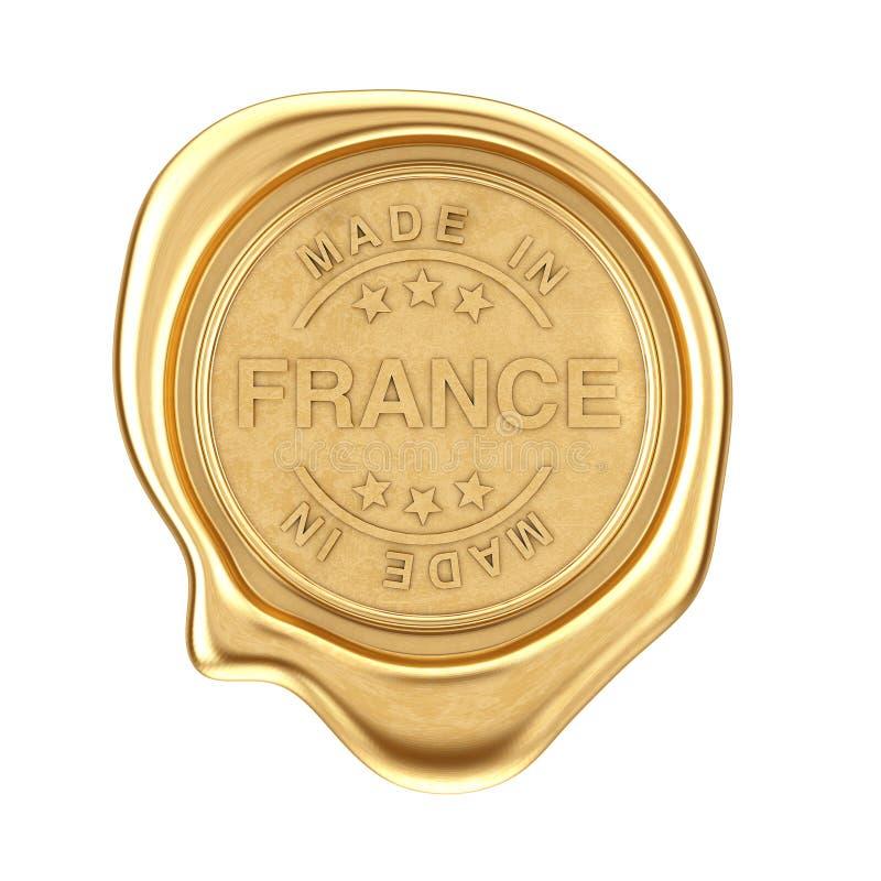 Sello de la cera del oro con hecho en la muestra de Francia representación 3d stock de ilustración