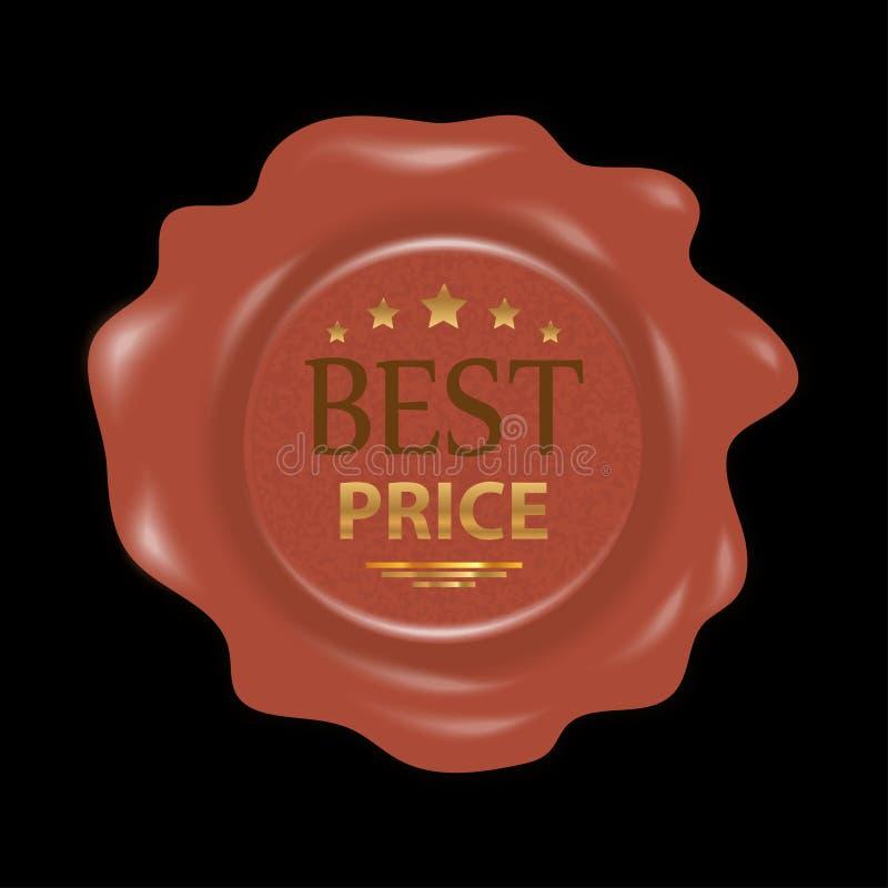 Sello de la cera Sello de goma del sello con el mejor precio de las insignias Vector stock de ilustración