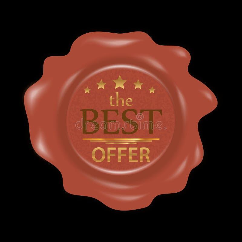 Sello de la cera Sello de goma del sello con la mejor oferta de las insignias Vector ilustración del vector