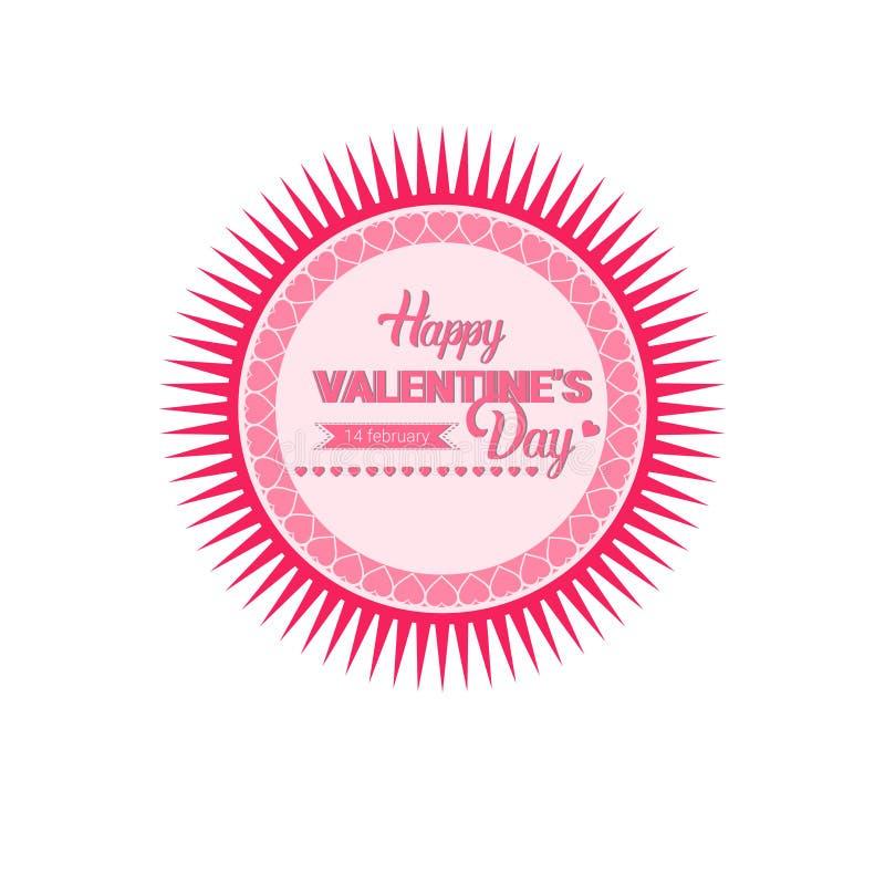 Sello de la etiqueta engomada del amor de Valentine Day Gift Card Holiday stock de ilustración