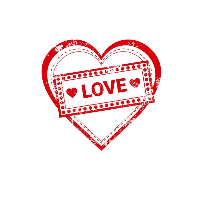 Sello de la etiqueta engomada del amor de Valentine Day Gift Card Holiday ilustración del vector