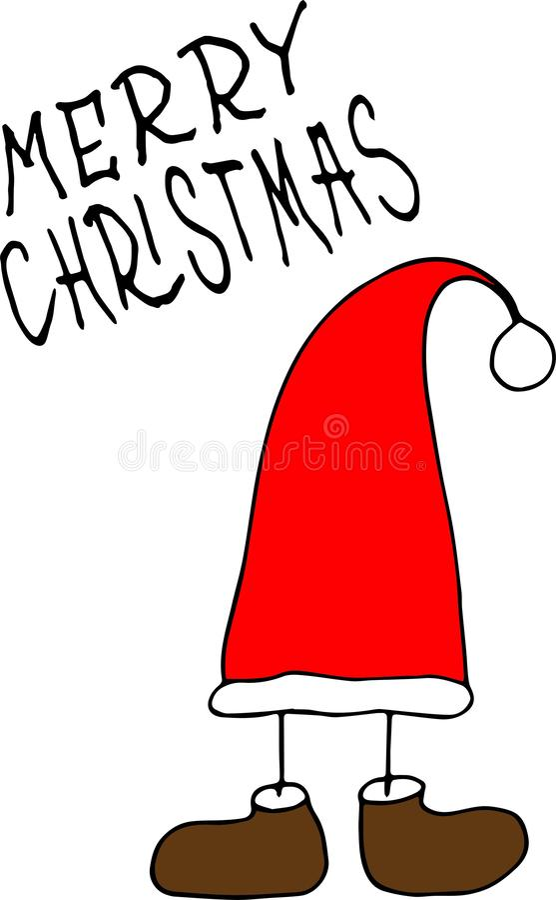 Sello de la Feliz Navidad, sistema de la etiqueta engomada con el sombrero de santa stock de ilustración