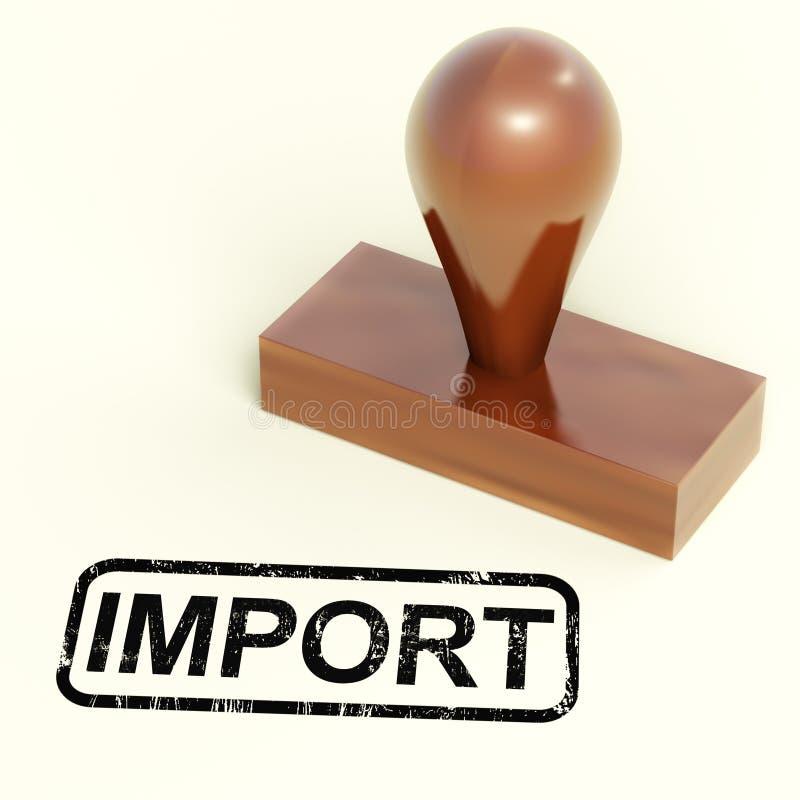 Sello de la importación que muestra importando mercancías o productos stock de ilustración