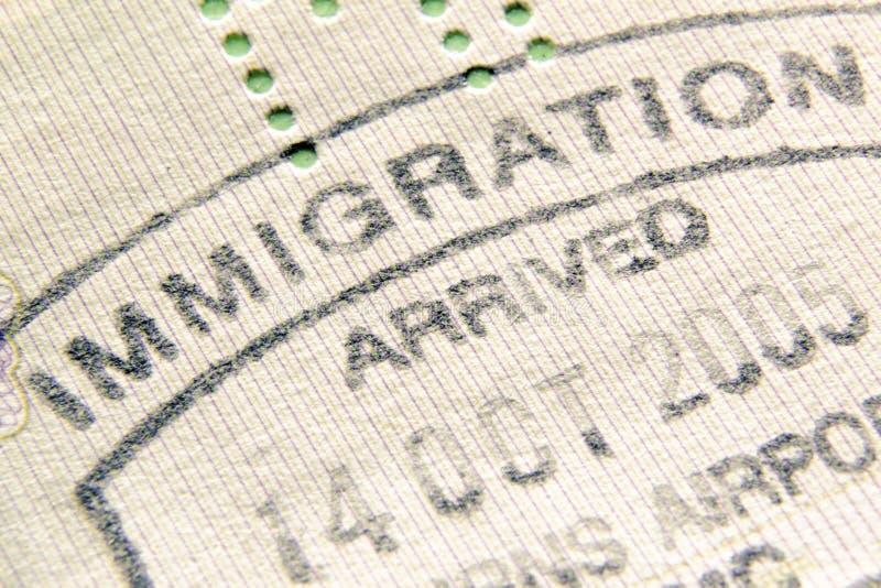 Sello de la inmigración imágenes de archivo libres de regalías