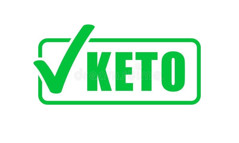 Sello de la marca de verificación del verde de la etiqueta de la dieta del Keto Icono quetogénico del vector de la dieta ilustración del vector