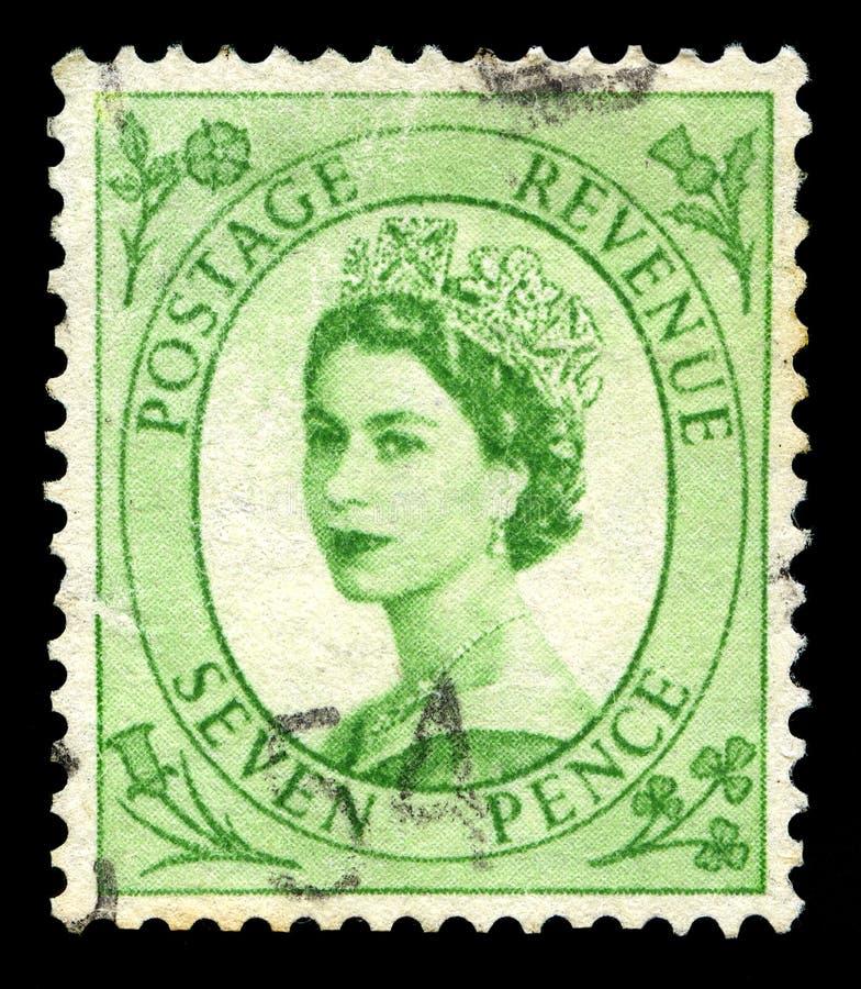 Sello de la reina Elizabeth II del vintage foto de archivo libre de regalías