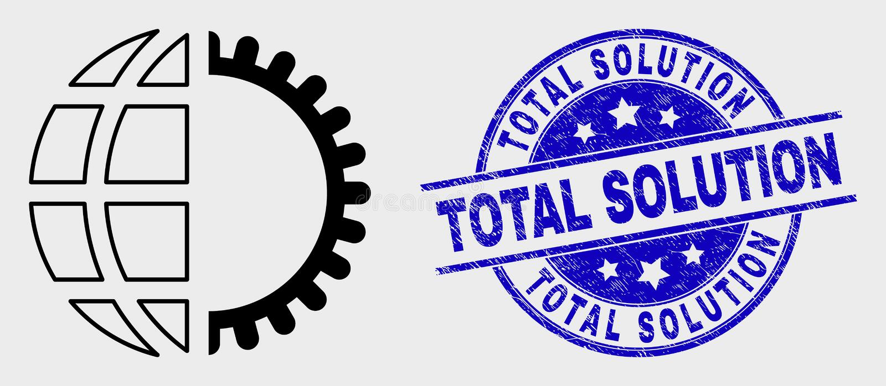 Sello de la solución del icono del servicio global del movimiento del vector y del total del Grunge ilustración del vector