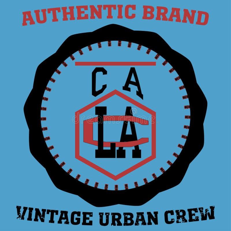 Sello de la tipografía del atletismo de Los Ángeles, gráficos del emblema del vector de la camiseta de California, desgaste del d libre illustration