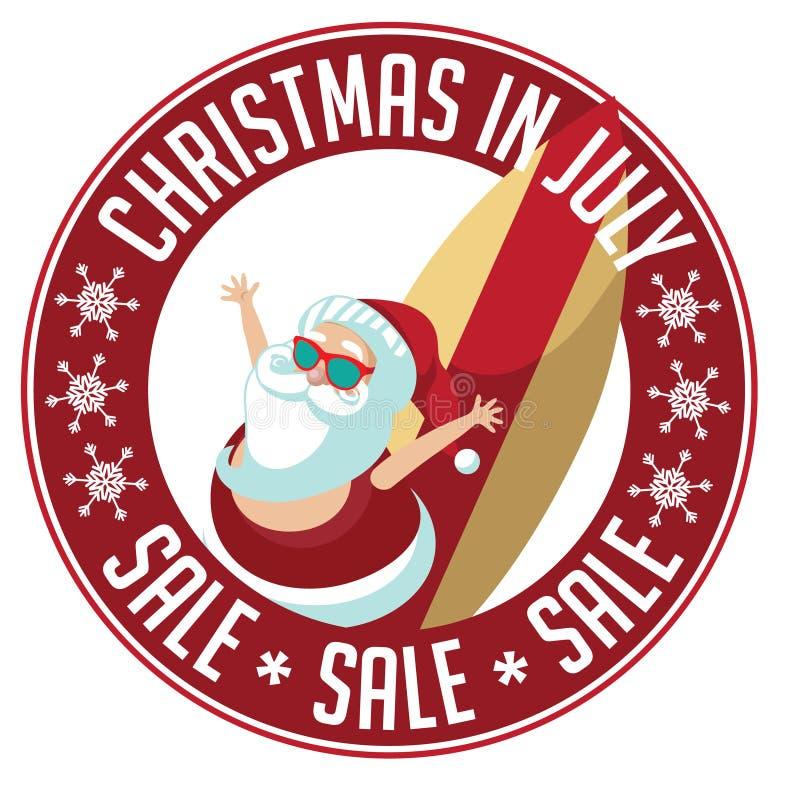 Sello de la venta de la Navidad en julio stock de ilustración