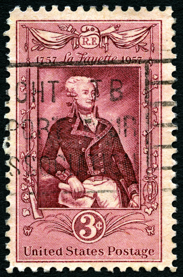 Sello de Lafayette los E.E.U.U. fotografía de archivo