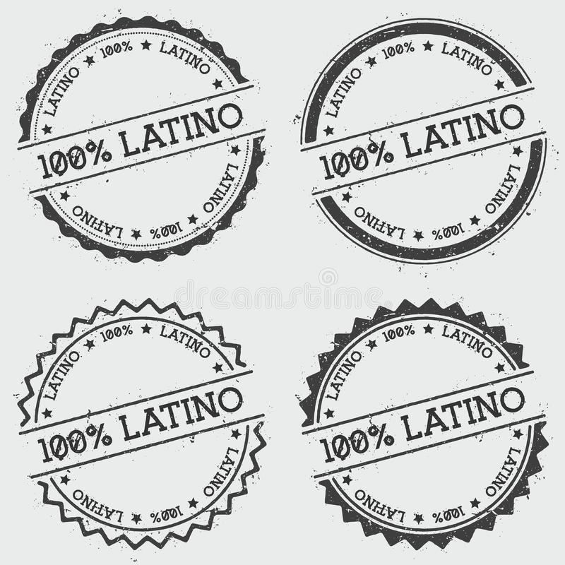 Sello 100% de las insignias del Latino aislado en blanco libre illustration