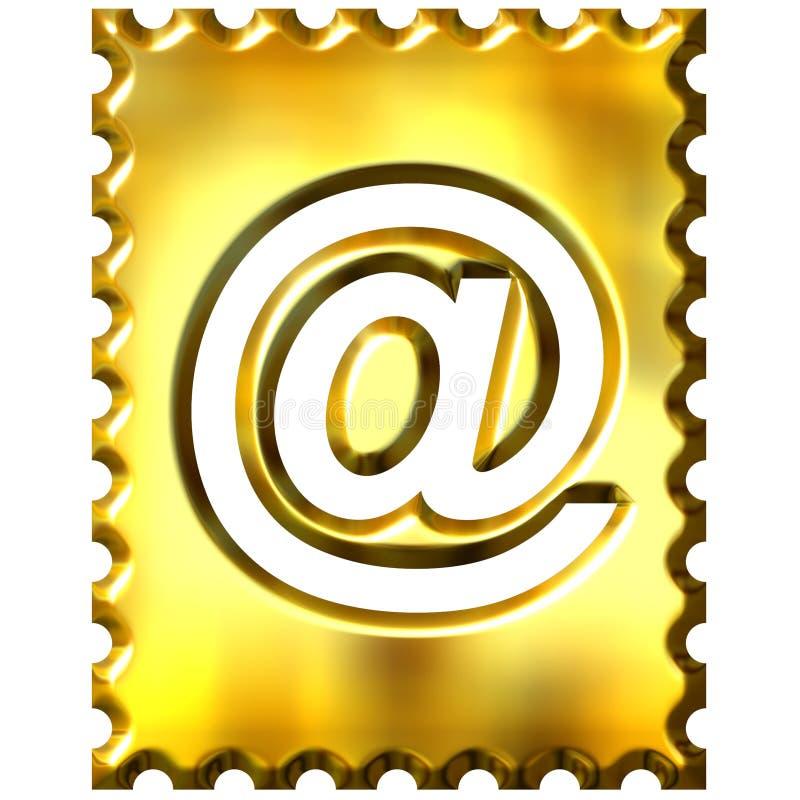 sello de oro 3d con símbolo del email stock de ilustración