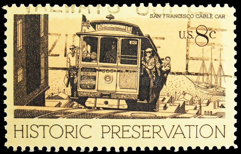 Sello de póster impreso en Estados Unidos muestra Cable Car, San Francisco, CA, Historic Preservation Issue serie, alrededor de 1 foto de archivo libre de regalías