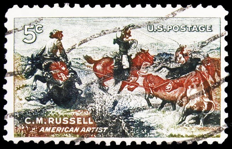 Sello de póster impreso en Estados Unidos muestra a Charles M Russell: Jerked Down, serie, alrededor de 1964 foto de archivo