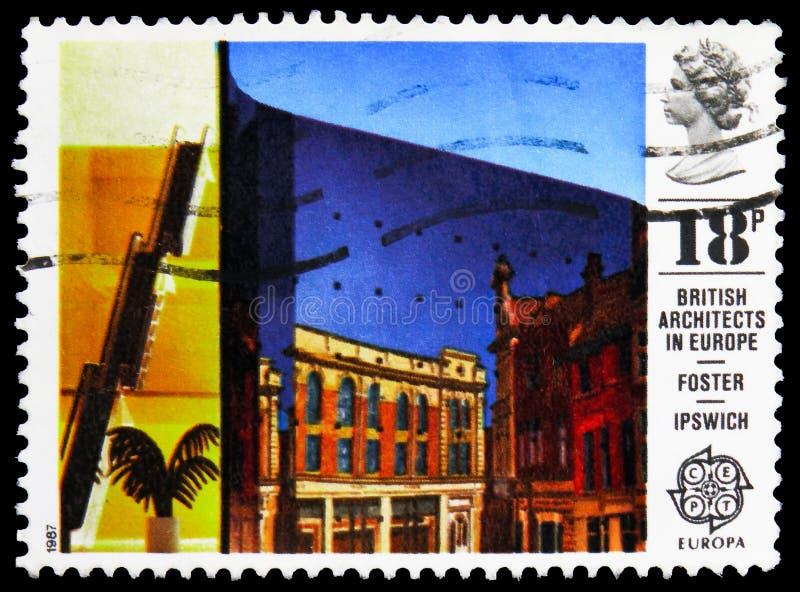 Sello de póster impreso en los espectáculos C del Reino Unido E P T - Edificio Willis Faber y Dumas, Ipswich, Europa C E P T 1987 imagenes de archivo