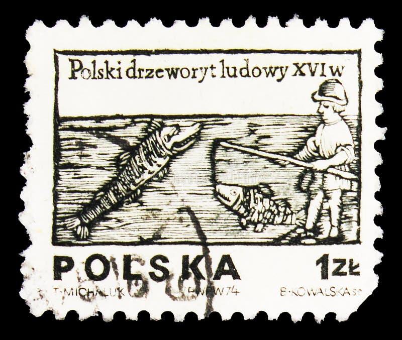 Sello de póster impreso en Polonia muestra el angler, Diseños de la serie de carpinteros del siglo XVI, alrededor de 1974 fotografía de archivo