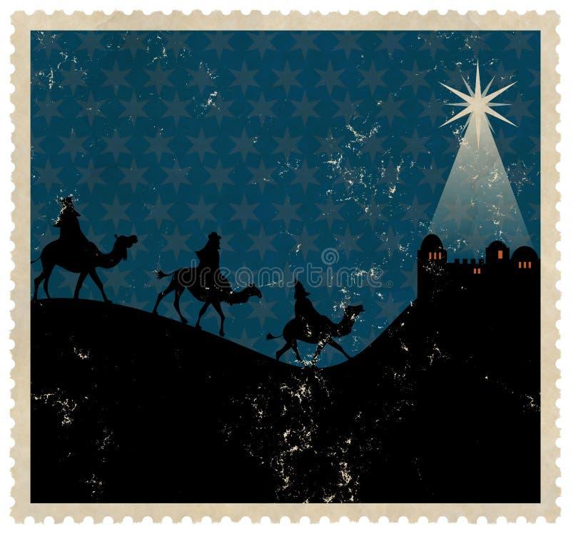 Sello de unos de los reyes magos de la Navidad ilustración del vector