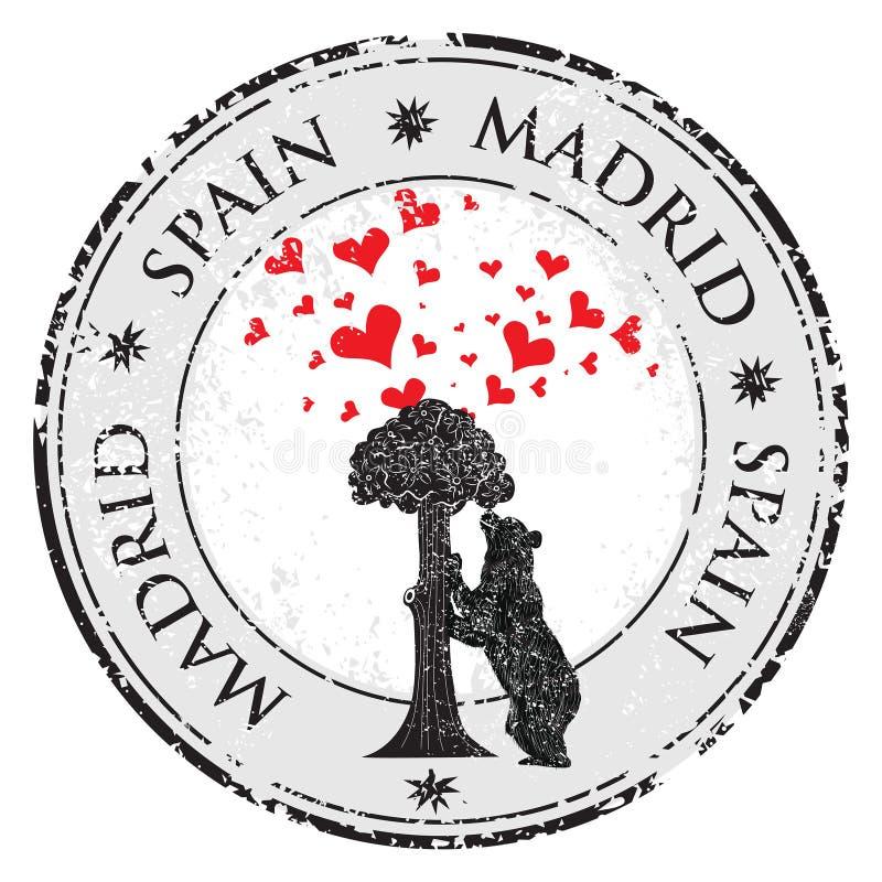 Sello del corazón del amor con la estatua del árbol del oso y de fresa y las palabras Madrid, España dentro, vector libre illustration