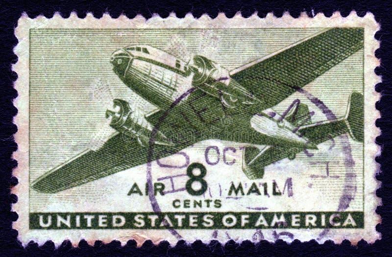 Sello del correo aéreo 8c de los E.E.U.U. de la vendimia foto de archivo libre de regalías
