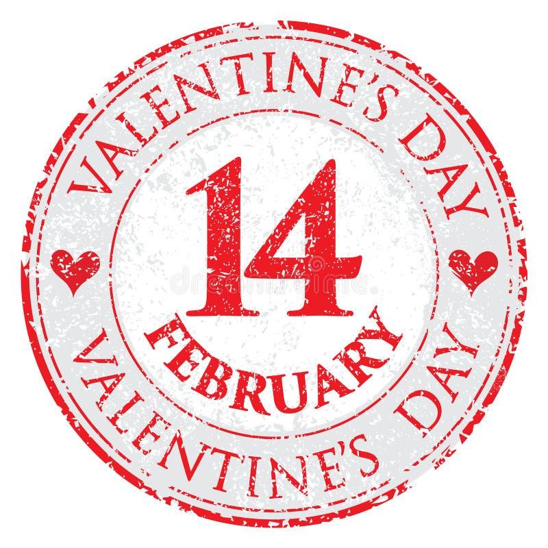 Sello del día de tarjeta del día de San Valentín del corazón del amor del Grunge en el fondo blanco - vector fotografía de archivo libre de regalías