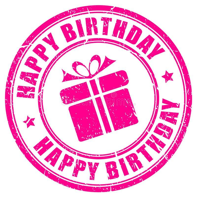 Sello del feliz cumpleaños ilustración del vector