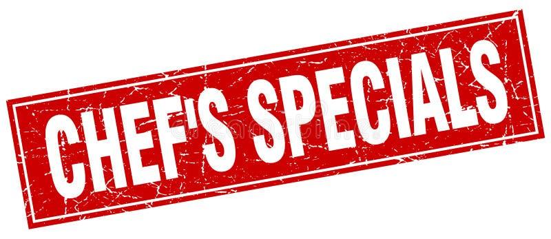 sello del grunge del cuadrado rojo de los specials del ` s del cocinero stock de ilustración