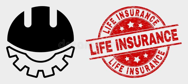 Sello del sello del icono del casco del desarrollo del vector y del seguro de vida del Grunge ilustración del vector
