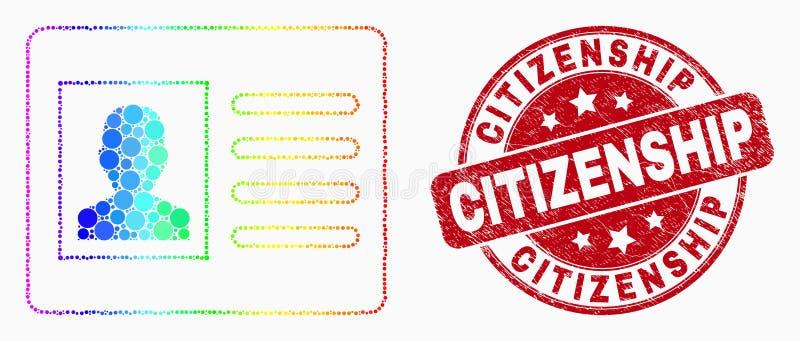 Sello del icono de la tarjeta del usuario de Pixelated del espectro del vector y del sello de la ciudadanía de la desolación stock de ilustración