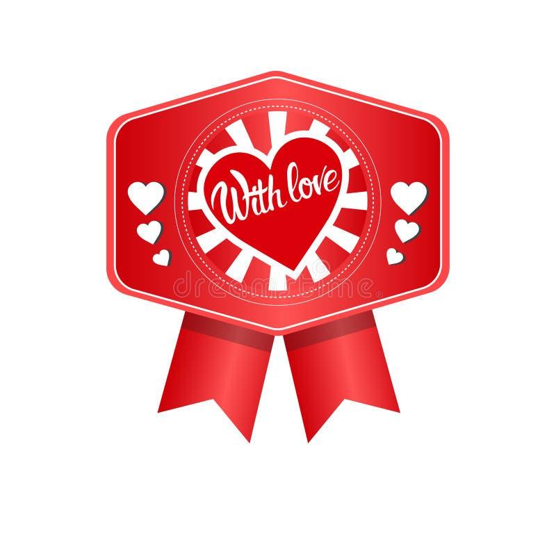 Sello del icono del amor de Valentine Day Gift Card Holiday ilustración del vector
