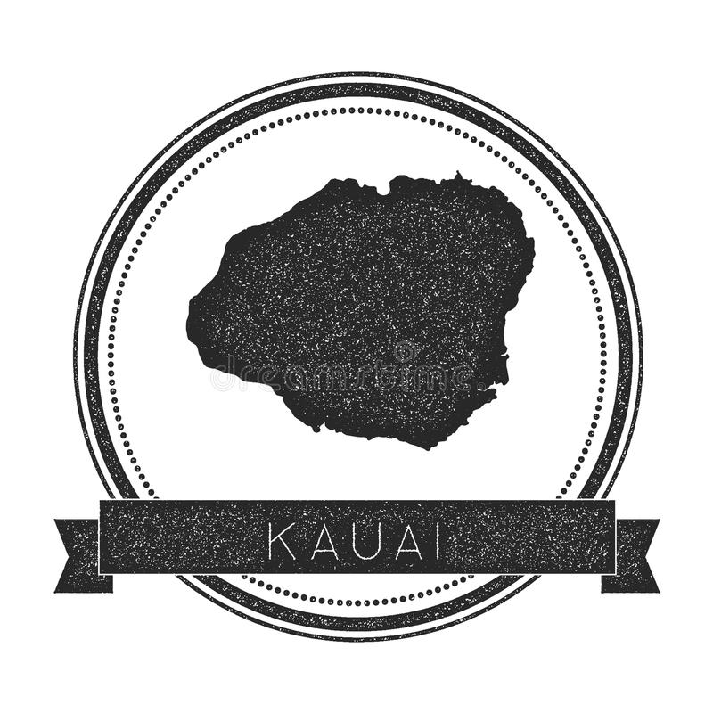 Sello del mapa de Kauai stock de ilustración