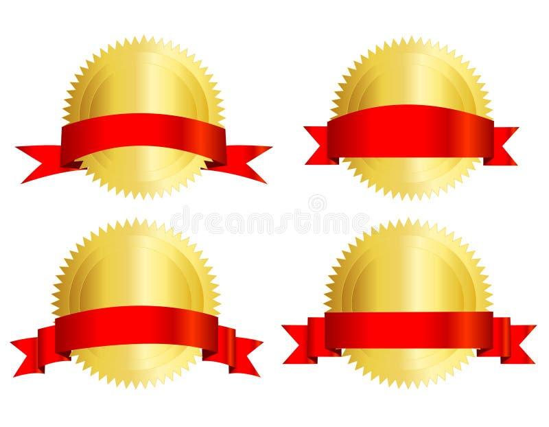 Sello del oro con la cinta roja ilustración del vector