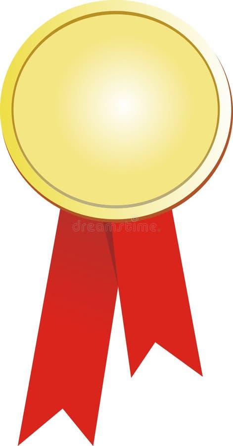 Sello del oro y cinta roja stock de ilustración