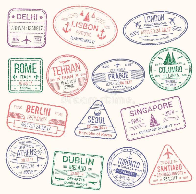 Sello del pasaporte, sistema del icono de la muestra de la visa del viaje libre illustration