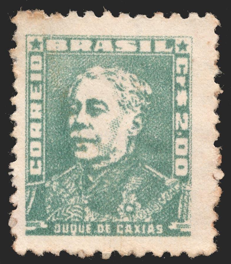 Sello del poste del Brasil con Duque de Caxias - político y monárquico del imperio del Brasil Presidente del consejo de fotos de archivo libres de regalías