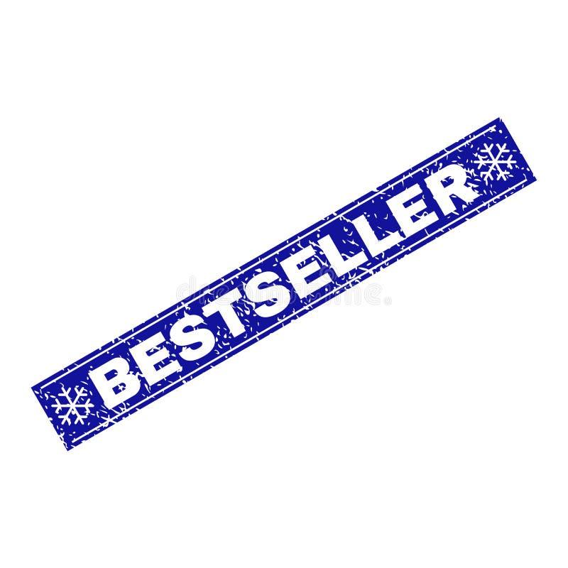 Sello del sello del rectángulo del Grunge del BESTSELLER con los copos de nieve ilustración del vector
