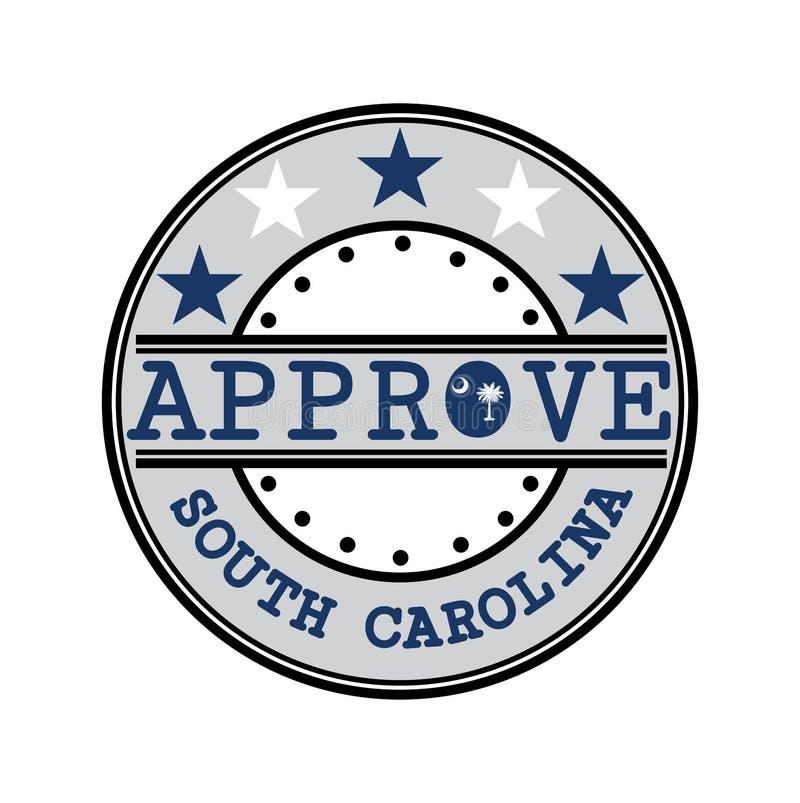 Sello del vector para el logotipo Approve con Carolina Flag del sur en la forma de O y del texto Carolina del Sur libre illustration