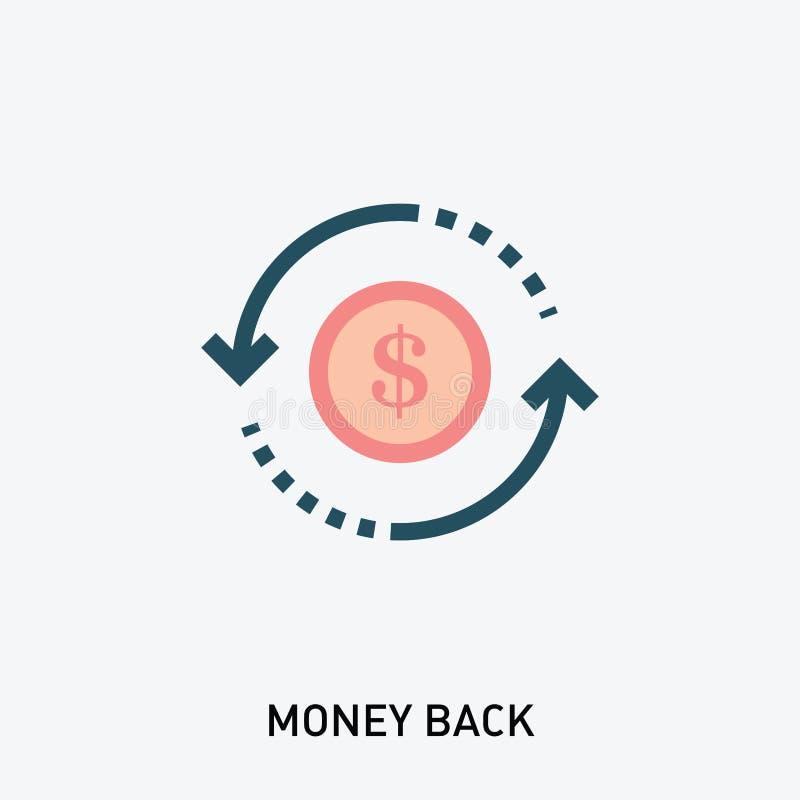 Sello del vector del reembolso del dinero Icono del glyph de la rentabilidad de la inversión Ejemplo del vector en estilo plano m stock de ilustración