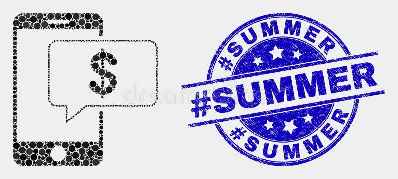 Sello del verano del hashtag del icono y del Grunge del mensaje del banco de Smartphone del pixel del vector libre illustration