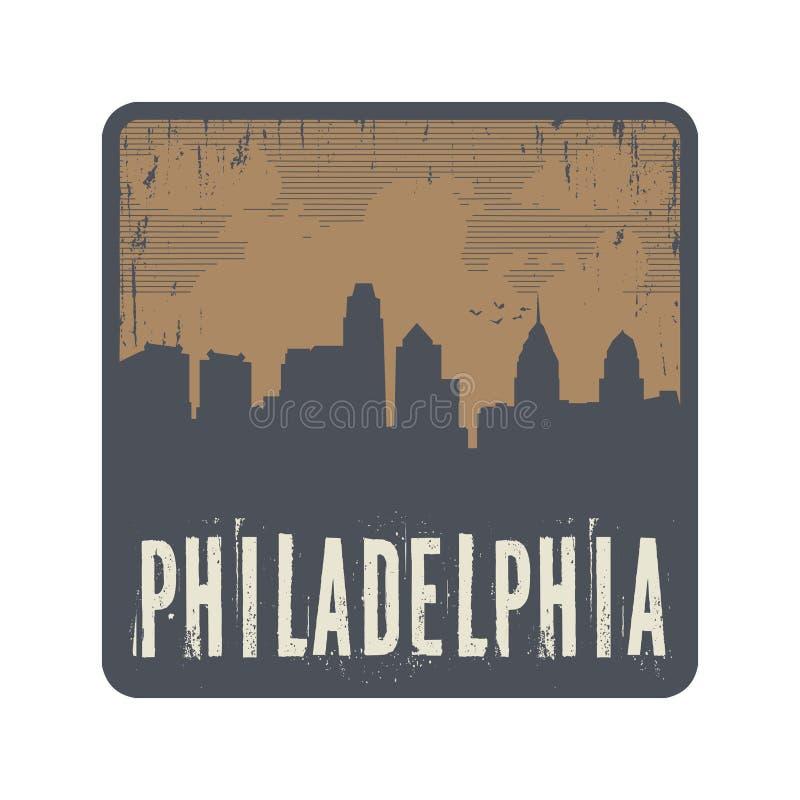 Sello del vintage del Grunge con el texto Philadelphia stock de ilustración