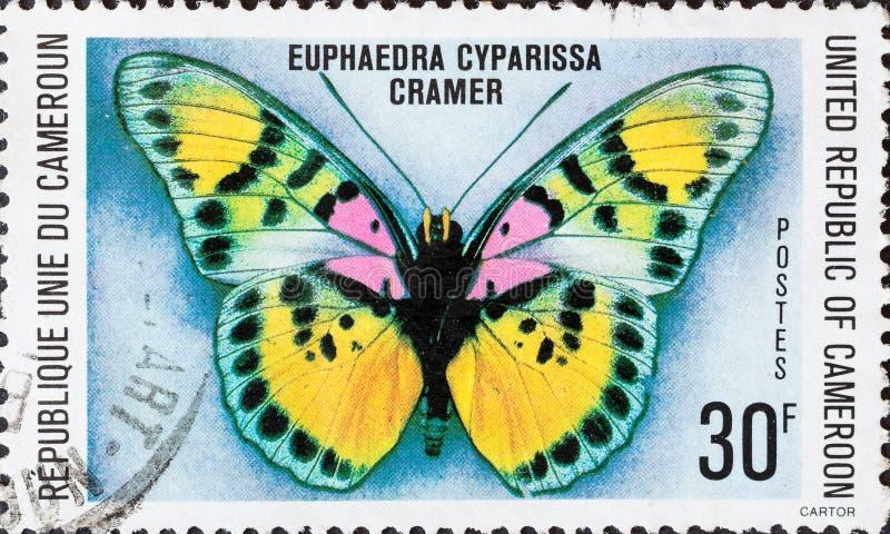 Sello del vintage impreso en el cyparissa de Euphaedra de la mariposa de las demostraciones del Camerún fotografía de archivo