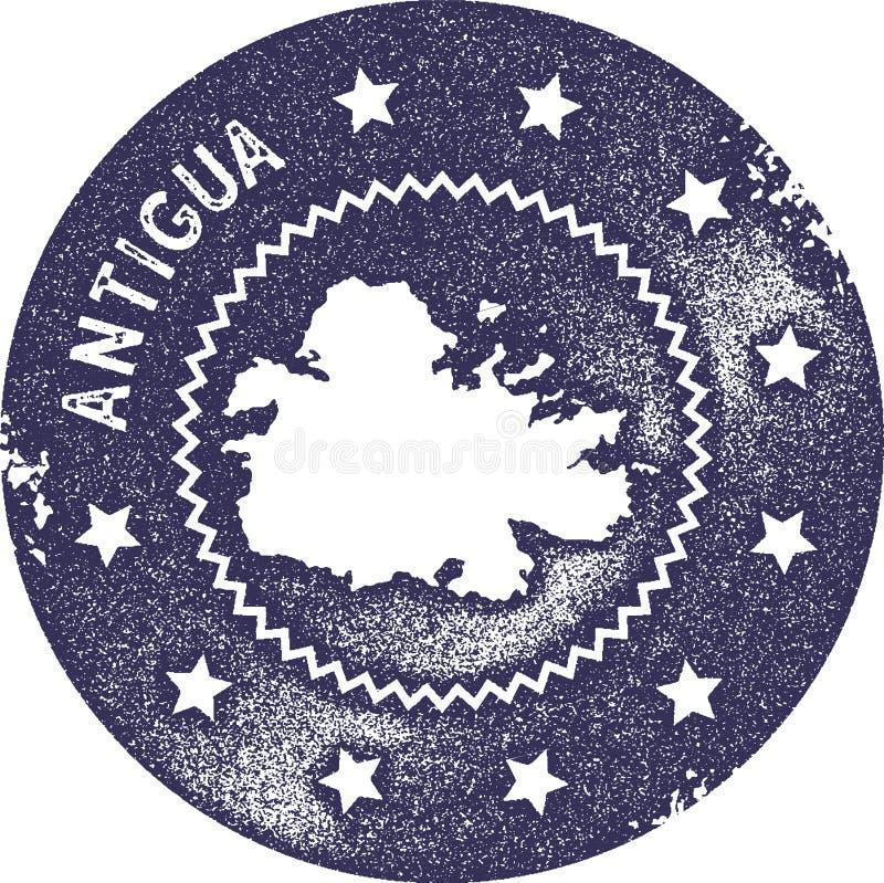 Sello del vintage del mapa de Antigua ilustración del vector