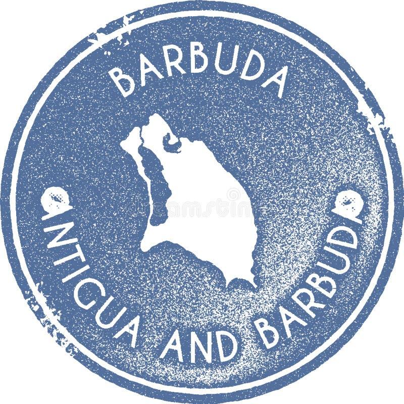 Sello del vintage del mapa de Barbuda ilustración del vector