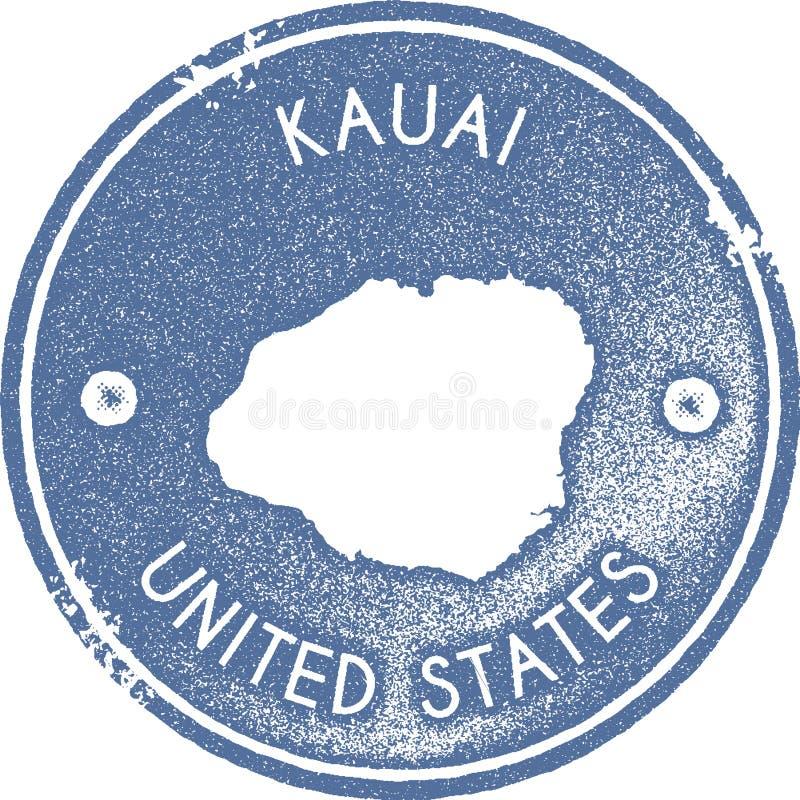 Sello del vintage del mapa de Kauai ilustración del vector