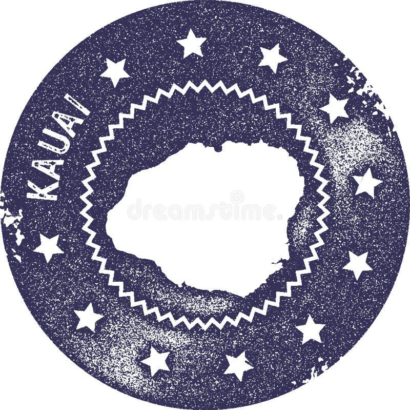Sello del vintage del mapa de Kauai stock de ilustración