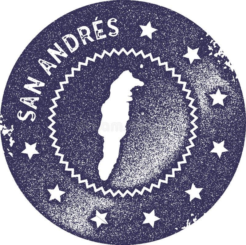 Sello del vintage del mapa de San Andres stock de ilustración