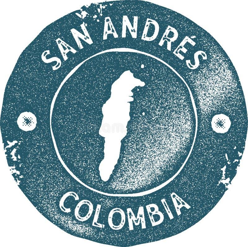 Sello del vintage del mapa de San Andres ilustración del vector