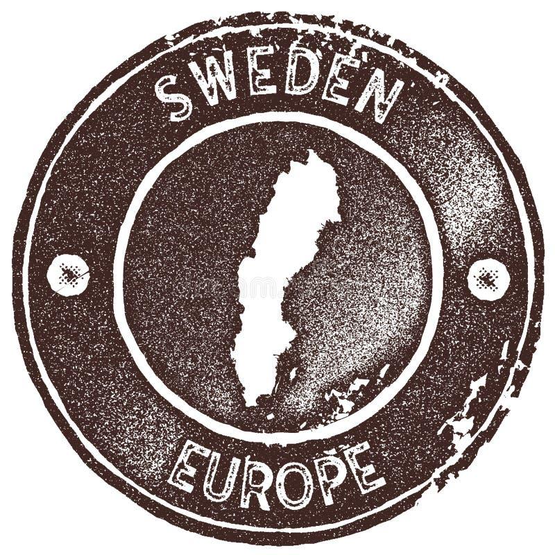 Sello del vintage del mapa de Suecia ilustración del vector