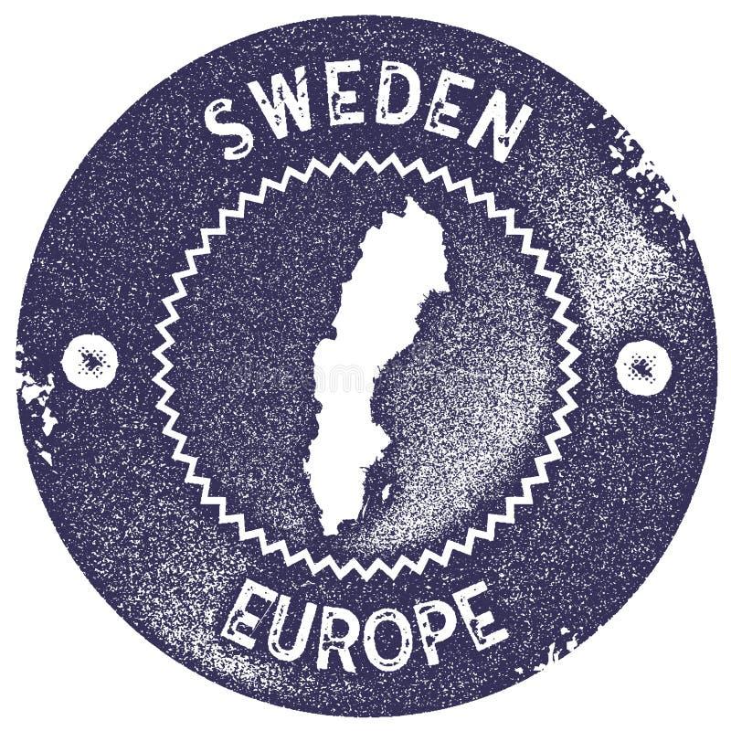 Sello del vintage del mapa de Suecia libre illustration