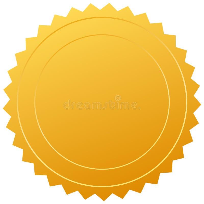 Sello en blanco del oro ilustración del vector