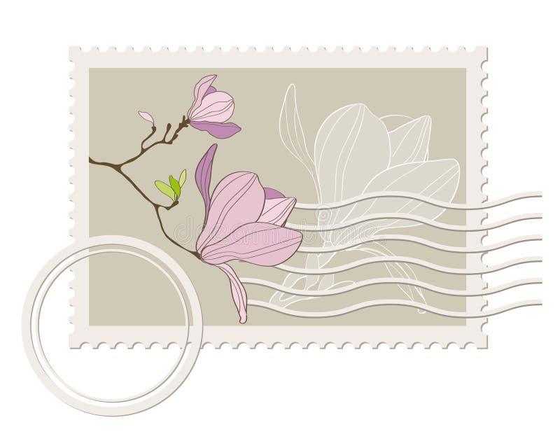 Sello en blanco del poste del vector con la magnolia libre illustration